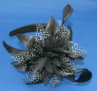 Black Spotted Fascinator on a Headband